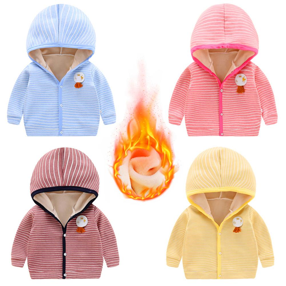 KLV Children Fleece Warm Hoodies Kids Stripe Cardigan Cotton Casual Outerwear Coat Baby Boys Girls Winter Autumn Hooded Clothes