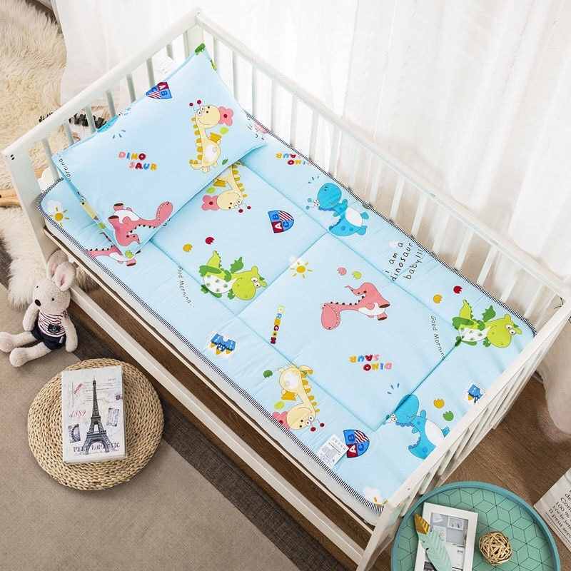 Crib Mattress Pad  60X120cm Toddler Bed Mattress Topper Cotton Four Season Soft Bed Linen Breathable Newborn Baby Bedding Set