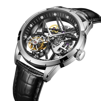 AESOP Hollow Diamond Tourbillon Watch Automatic Watches Special Hollow Mechanical Luxury Watches Steel Strap 2021 часы мужские