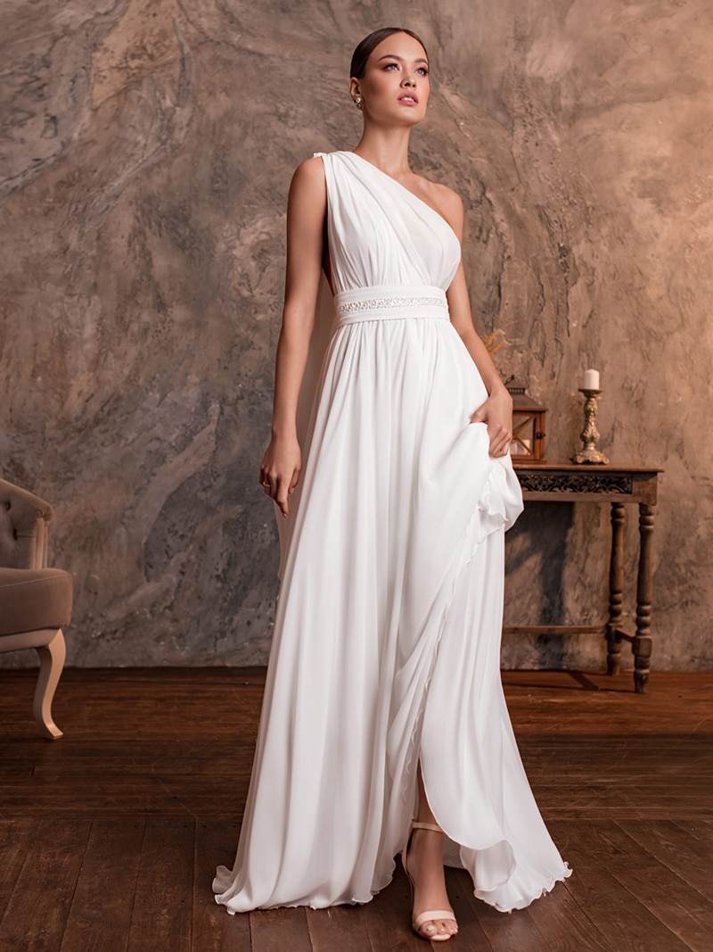 Soft Chiffon One Shoulder Wedding Dress 2021 Bridal Gowns Backless Simple Vintage Pearls Sleeveless Plus Size Custom Made
