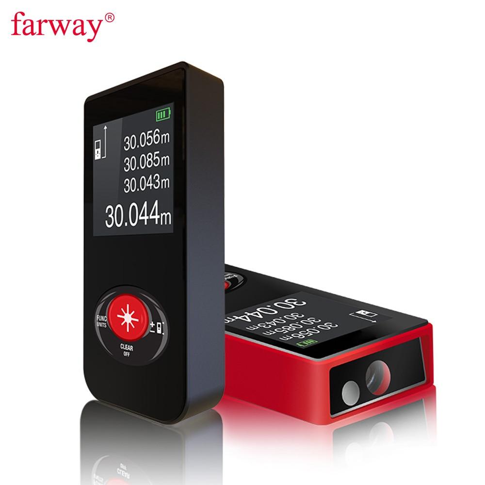 Farway laser distance meter mini rangefinder 60M laser tape range finder build measure device ruler test tool Lazer Metreler
