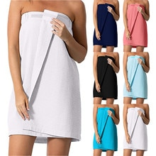 Microfiber Bathrobe Bathing Towels Ladies Bath Towel Women's Waffle-spa Body Wrap With Adjustable