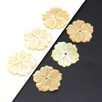 5pcs yellow natural mother shell beads flower shape loose beads charms for diy jewelry making diy earrings gifts 28x28mm