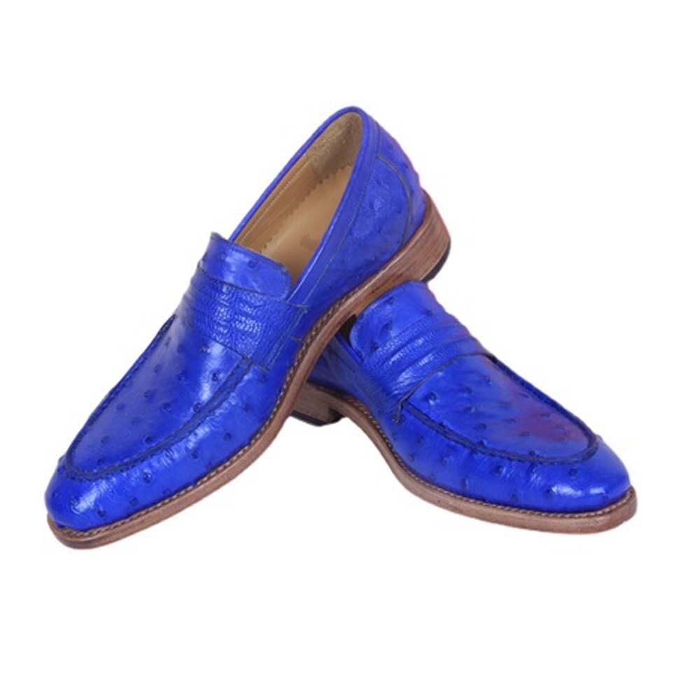 Hulangzhishi الذكور النعامة أحذية من الجلد الكلاسيكية دليل مخصص البريطانية أحذية النعامة الجلد أحذية رجالي فستان رجالي
