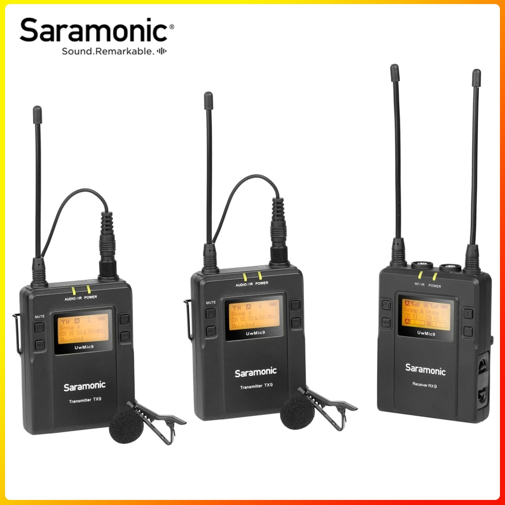 Saramonic UWMIC9 بث مكبر صوت لا سلكي ذو تردد فوق العالي نظام استقبال و XLR جهاز إرسال لكاميرا الفيديو هاتف ذكي