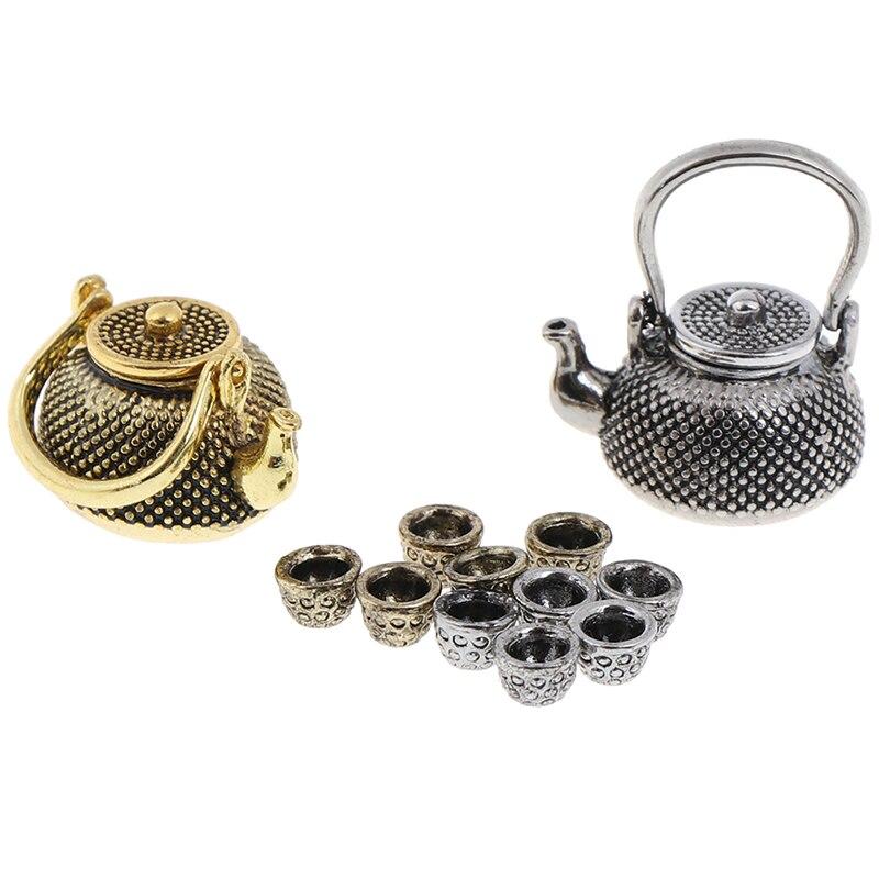 6 шт./компл. 1: 12 миниатюрная мебель для кукольного дома чайный горшок чашка тарелка 1 чайный горшок с крышкой + 5 чашек столовая посуда игрушечный металлический чайный сервиз