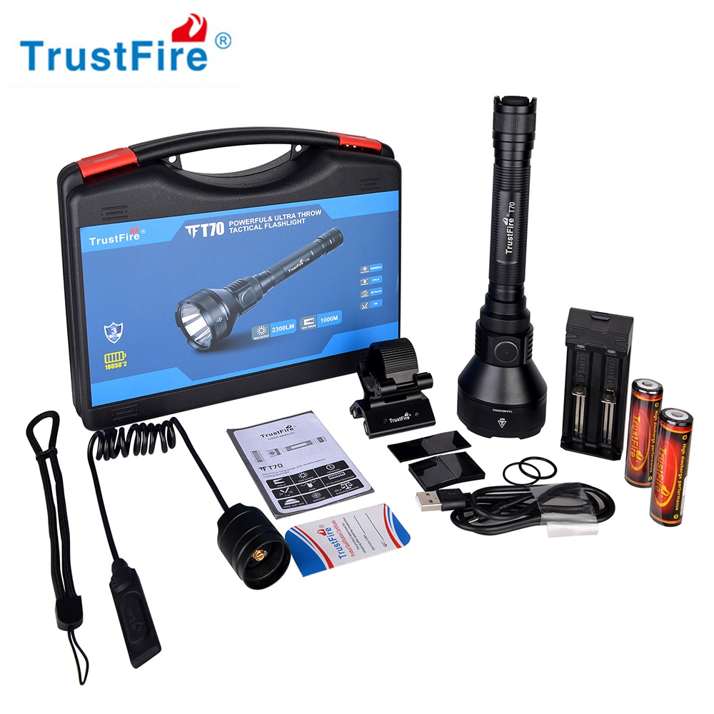 Trustfire T70 linterna traje 18650 2300lm LED linterna recargable Ultra potente caza Camping linterna eléctrica
