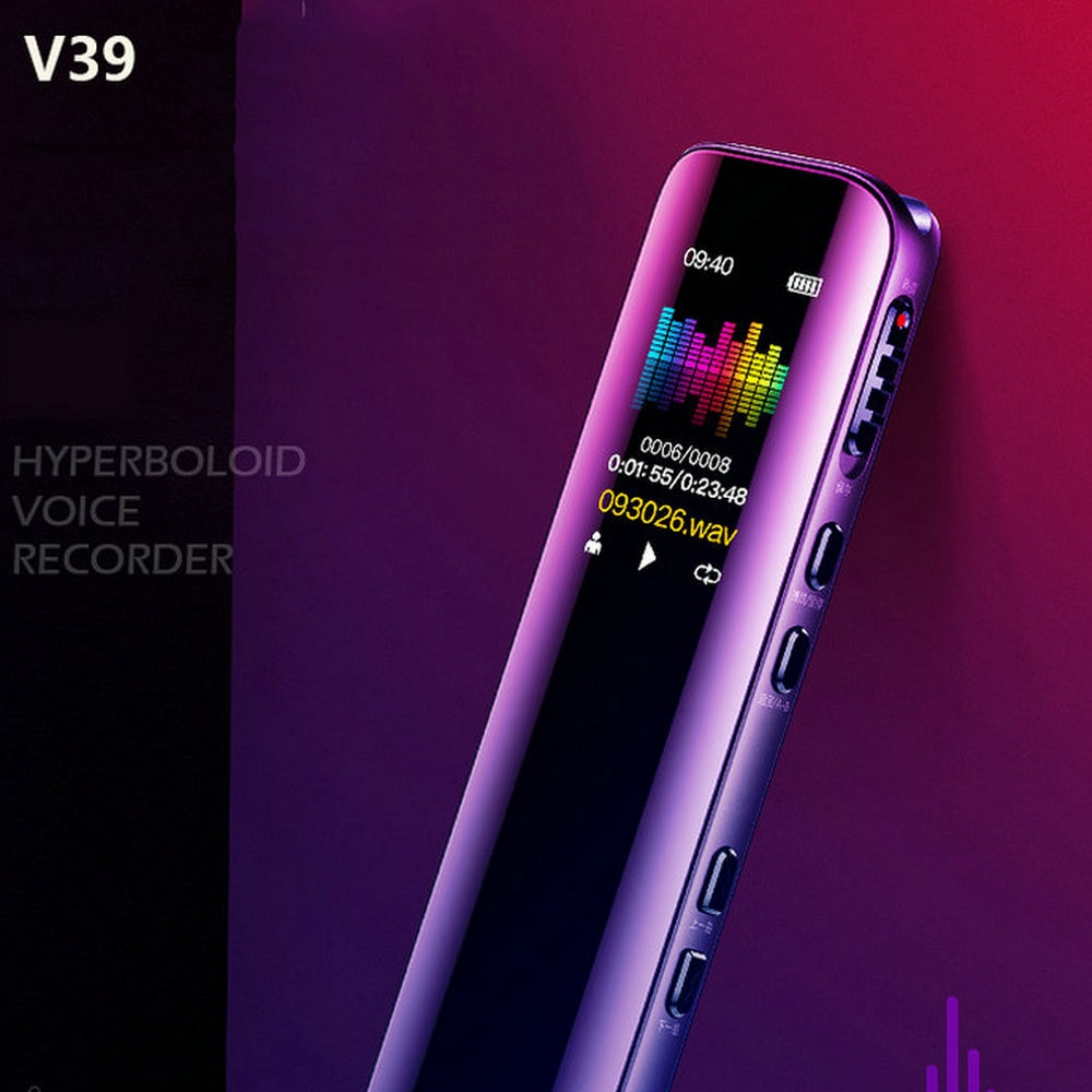 MP3 Player Telephone Audio Recording Dual Arc Microphone Digital Voice Recorder Dictaphone V39 Voice Activated Portable Recorder enlarge