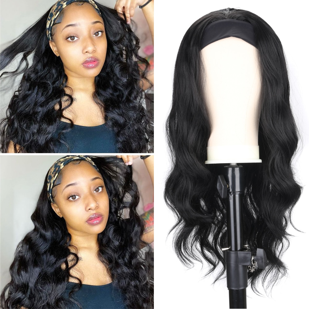 Women's Headband Wig Body Wave Natural Black Blonde Wigs with Headband Fake Hair Synthetic Wigs for Black Women