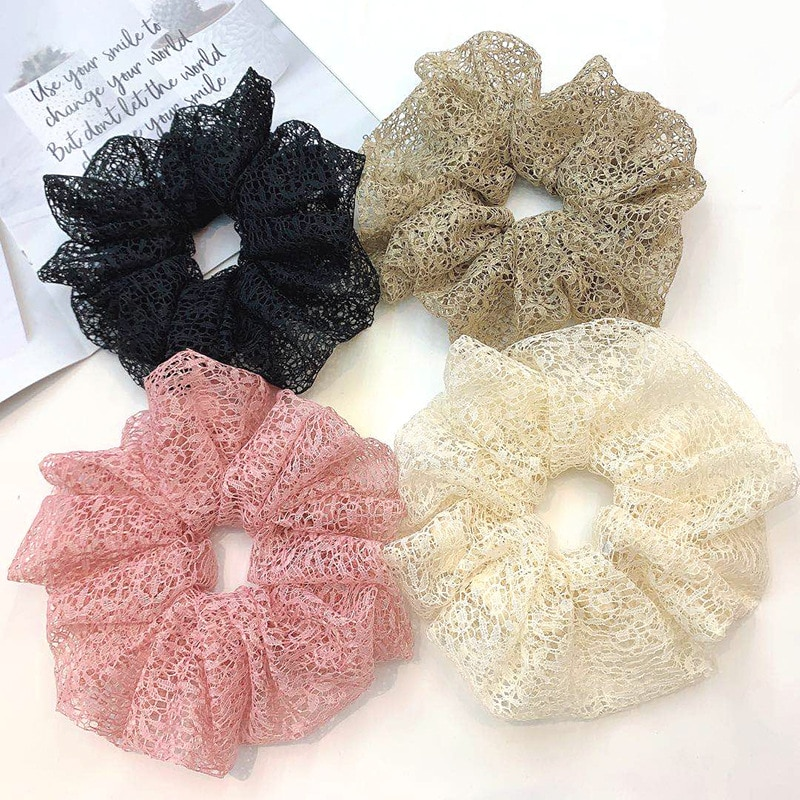 Lace Hair Scrunchies Large Size Hollow Out Elastic Hair Bands Ponytail Holder Elegant Scrunchie Lacy Hair Tie For Girl Women