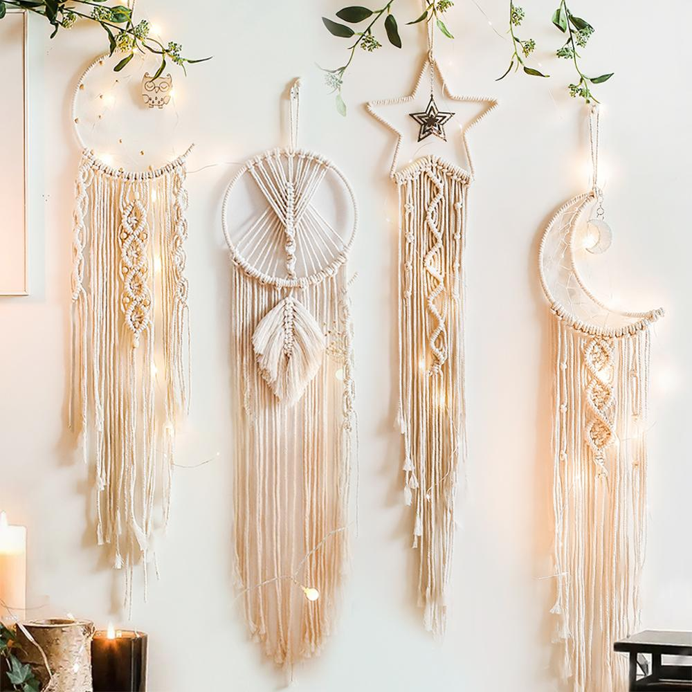 Moon And Star Macrame Tapestry Wall Hanging Boho Decor for wall home room bedroom