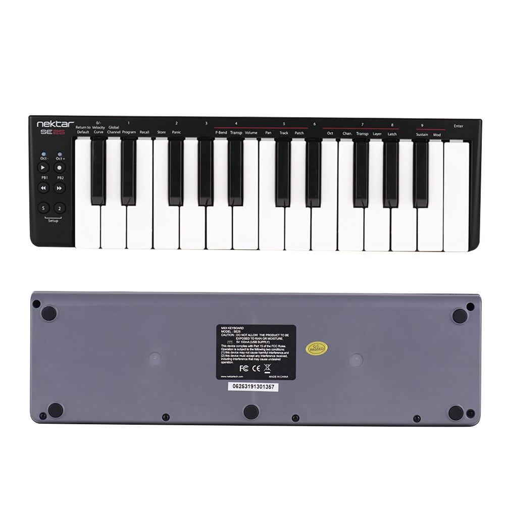 Nektar SE25 Mini 25-Key USB MIDI وحدة تحكم بلوحة مفاتيح سرعة حساسة USB بالطاقة لوحة مفاتيح البيانو teclado الموسيقية البيانو