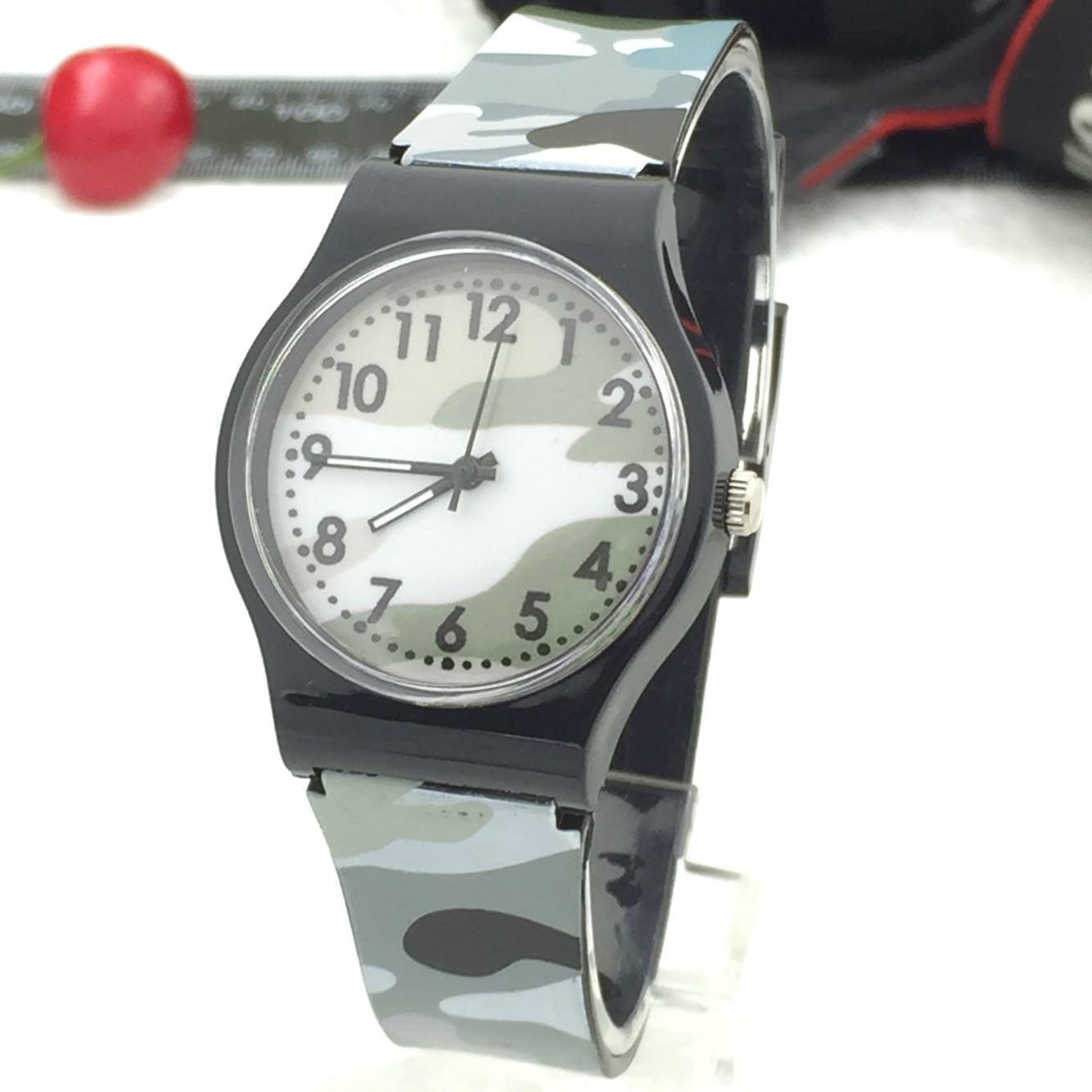Темно-зеленые военные камуфляжные часы Детские Силиконовые Мультяшные кварцевые детские часы для мальчиков подарочные часы для детей