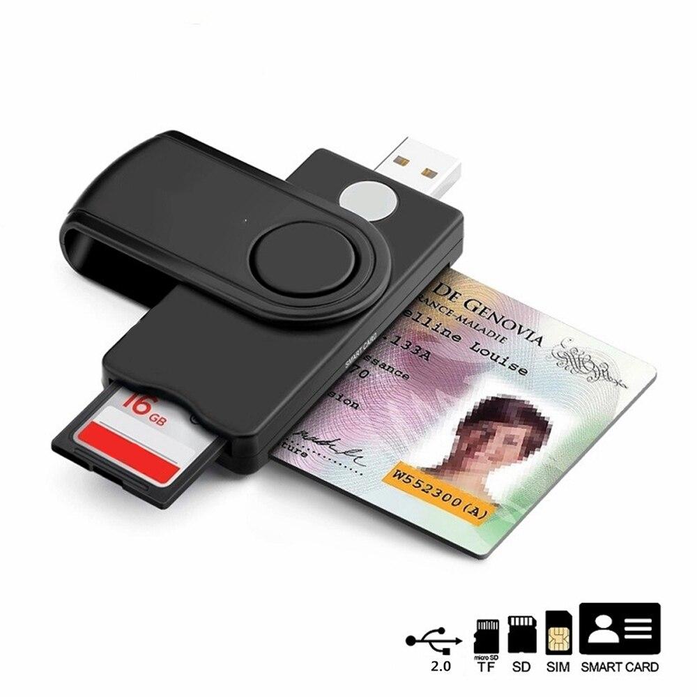 USB  2.0 Smart Card Reader micro SD/TF memory ID Bank EMV electronic DNIE dni citizen sim cloner connector adapter
