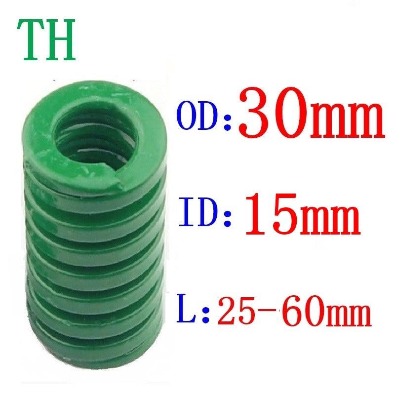 1Pcs Grün frühling schwere last Kompression Frühling Laden Sterben Form Frühling Äußere Durchmesser 30mm Innen Durchmesser 15mm L = 30-60mm