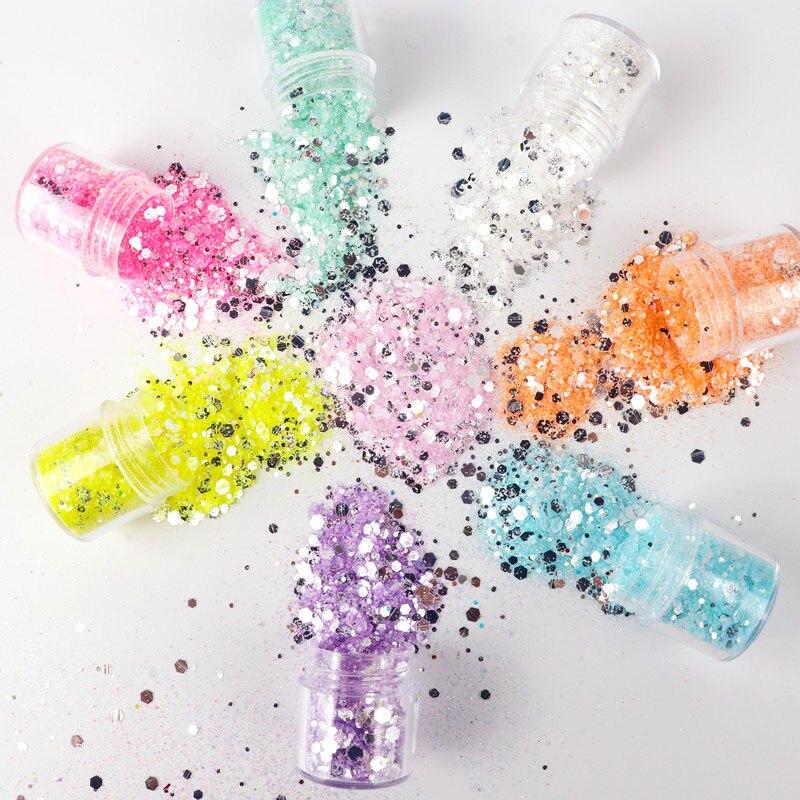 Lentejuelas brillantes 3D para uñas, 1 frasco, adornos Nail Art para manicura, lentejuelas hexagonales coloridas de sirena