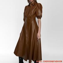women New PU faux leather Dresses Office short sleeve retro elegant ladies brown mid dress vestido elegant Female autumn button