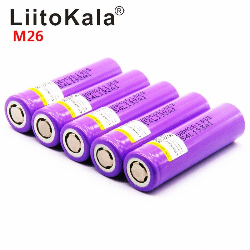 100% LiitoKala original para M26, 18650, 2600mah, 10A, ICR18650, m26, 2600mAh, carga de 3,7 v, 18650 para banco de energía de la linterna
