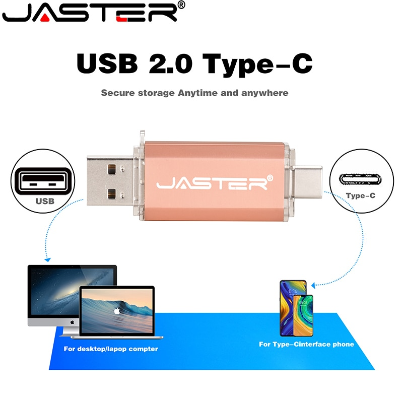 Type-C Smart Phone USB 2.0 Flash Drive 8G 16GB 32GB 64GB 128GB Metal Pen Drives Wholesale Custom LOGO Memory Stick Real Capacity