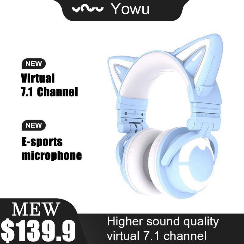 Review YOWU 3G Cute Cat Wireless Headphones APP control RGB lights High quality Cat Casco Girl cute cat ear headset For Computer Gaming