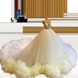 Long Train Ivory vestidos de quinceañera vestido de 15 anos quinceanera Spaghetti Straps Ruffled Hemline Vestidos de 15 años