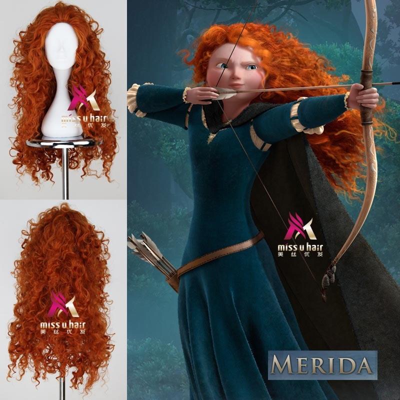 Disfraz de Mérida de Brave de Halloween peluca larga rizada de papel naranja ondulada Peluca de Halloween para mujer peluca Cosplay