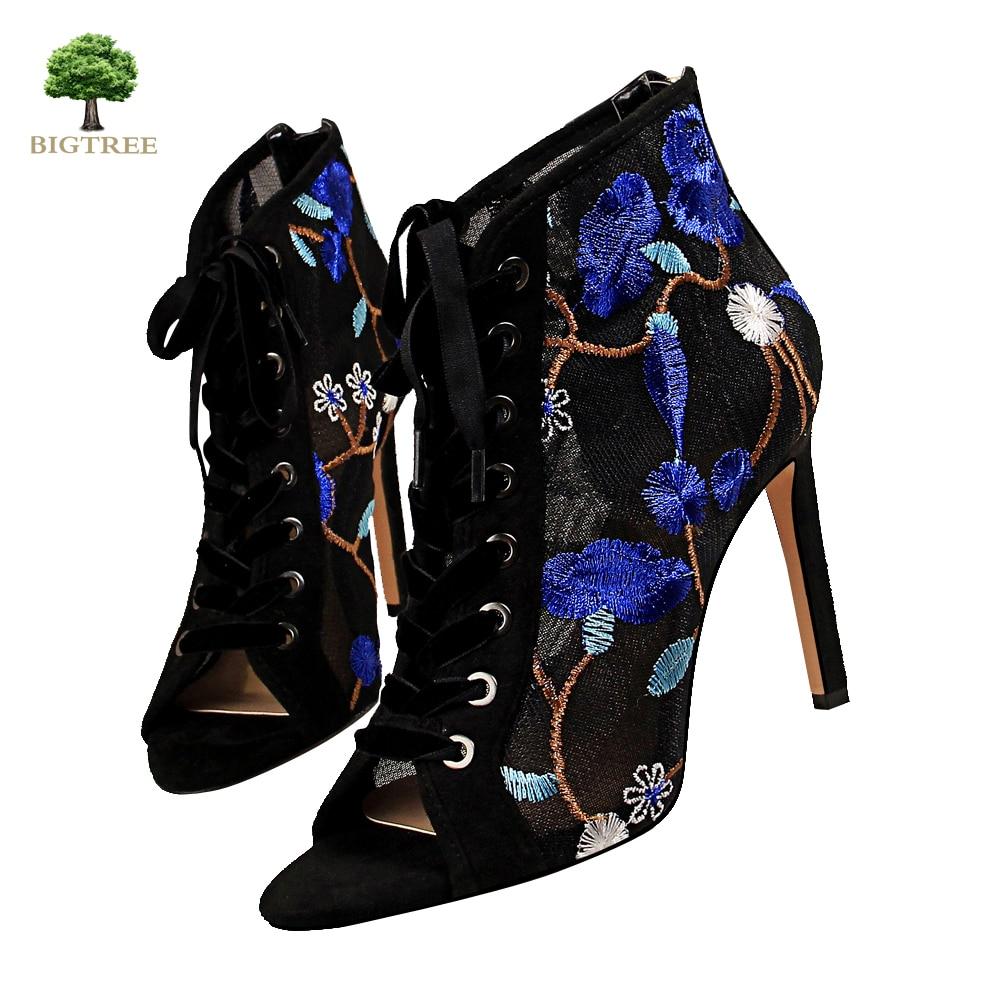 Sandalias de mujer Bigtree, botas de verano de hilo de red, sandalias altas, moda 2020, estilo chino, botas geniales para mujeres banquetes