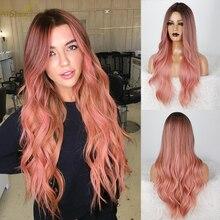 Parrucche sintetiche AISI BEAUTY Ombre rosa per donna parrucca lunga ondulata da donna parte centrale attaccatura dei capelli naturale per uso quotidiano/Cosplay