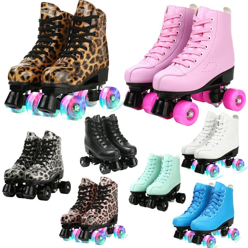 أحذية تزلج للبالغين من جلد البولي يوريثان ، أحذية تزلج على الجليد ، زلاجات مضمنة ، أحذية رياضية للتدريب ، مقاس أوروبي 4 عجلات فلاش ، 5 ألوان