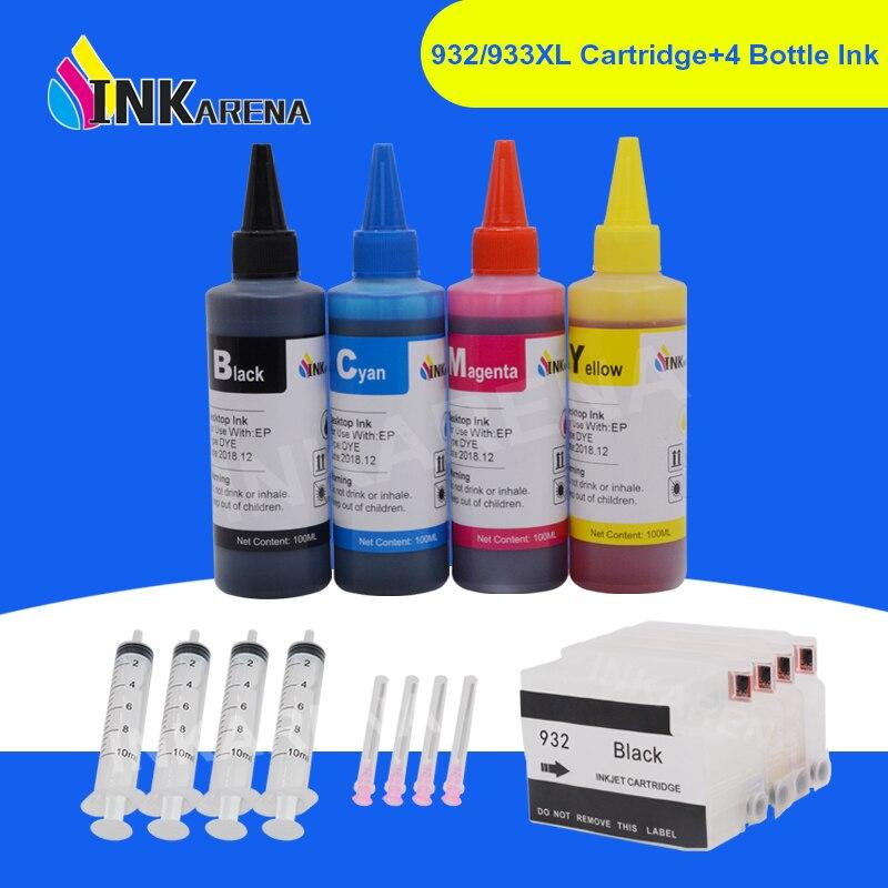 Inkarena 932 933 xl impressora corante cartucho de tinta + 400ml garrafa tinta para hp 932xl officejet 6100 6600 6700 7110 7610 7612 impressoras