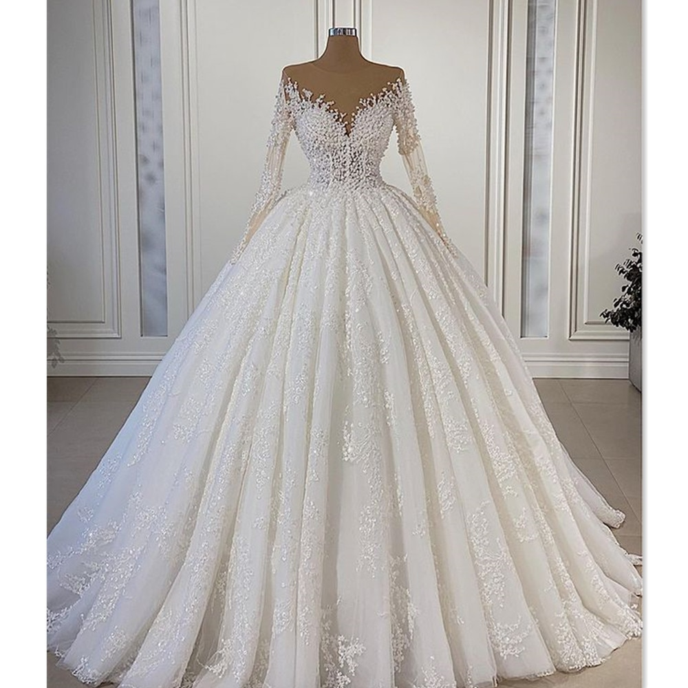 فستان زفاف مثير من التول الوهمي ، أكمام طويلة ، ثوب الكرة ، فستان الزفاف الفاخر ، الخرز ، الدانتيل ، 2021