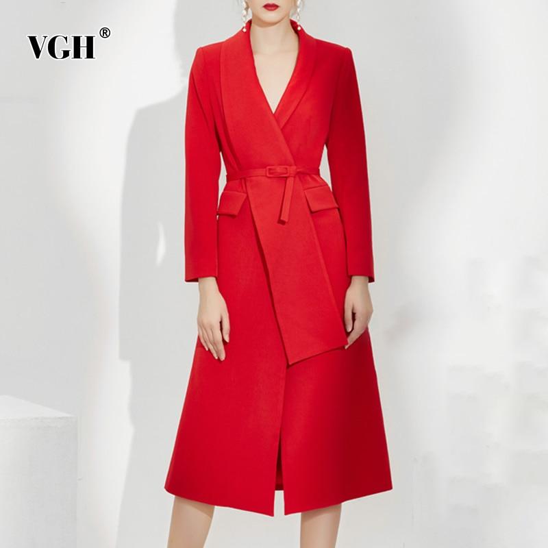 VGH مزاجه فستان أحمر للنساء الخامس الرقبة طويلة الأكمام عالية الخصر الزنانير ضئيلة غير متناظرة فساتين متوسطة الطول الإناث 2021 موضة جديدة