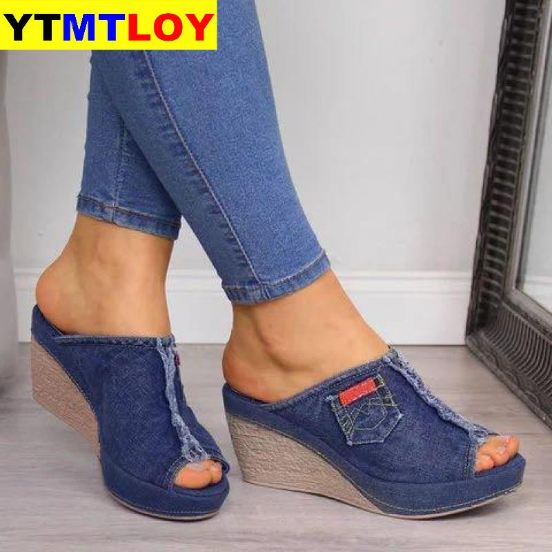 Women Sandals New Female Shoes Woman Summer Wedge Comfortable Ladies Slip-on Flat Sandalias Denim Platform Wedges High Heel