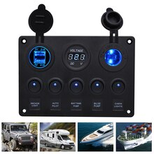 5 Gang Car Marine Boat LED Rocker Switch Panel Waterproof Circuit Digital Voltmeter Dual USB Port With 4.2A Dual Slot Socket