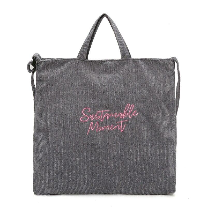 Bolso de mano para mujer de lona de pana bolso de hombro Casual para mujer