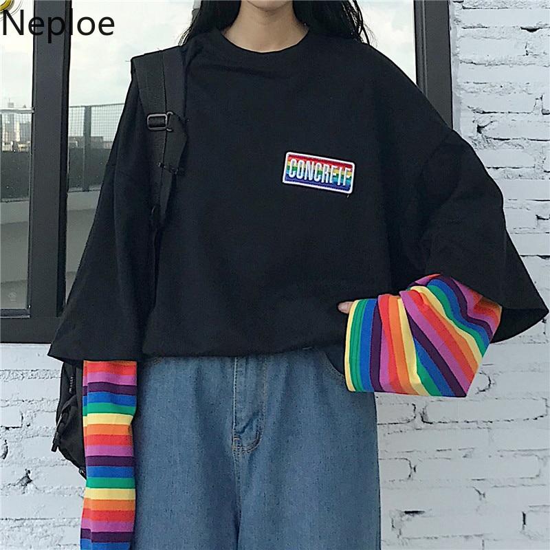 Neploe coreano Harajuku Patchwork camisetas falsas de dos piezas Arco Iris a rayas de manga larga Casual camiseta o-cuello mujeres Top camisetas 55252