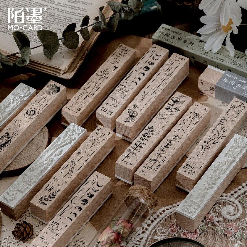 Sello de sello de hoja de helecho Retro sello de madera de ensayo de planta Vintage helecho/luna/seta/hoja de plata sello de goma Decorativ Dairy