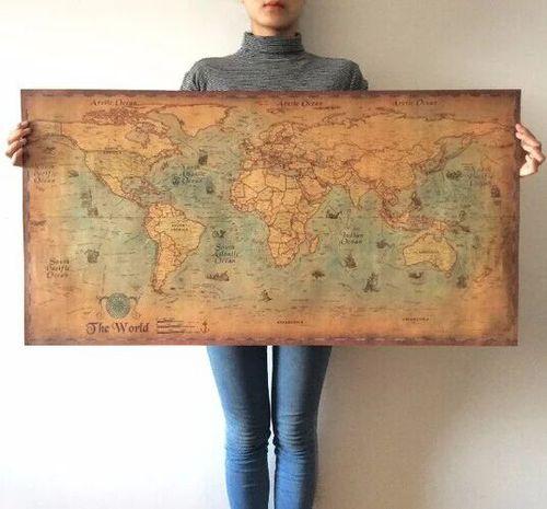 Карта мира, винтажный журнал, плакат, Ретро Карта мира, персонализированные фотографические карты для офиса и школы