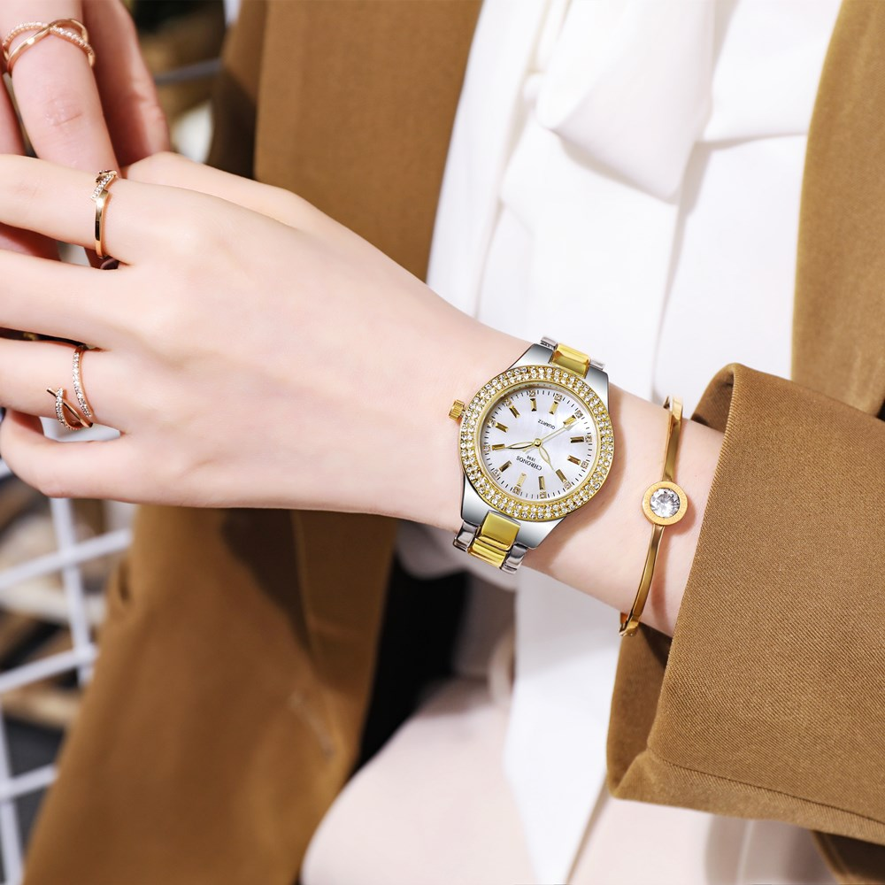 CHRONOS Women Watch Rhinestones Round Dial Stainless Steel Bracelet Clasp Luxury Ladies Fashion Wristwatch CH36 enlarge