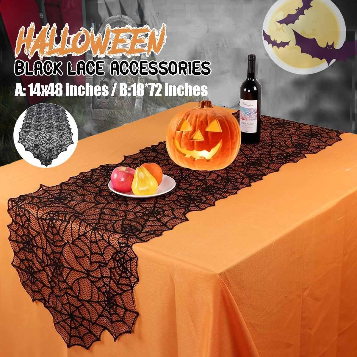Nuevo Camino de mesa de decoración de Halloween 1PC 36x122/46x183cm decoraciones de fiesta Bandera de mesa de encaje ¡Spid! mantel de mesa er