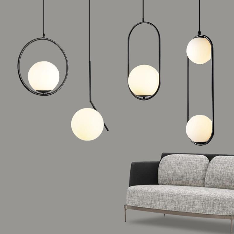 AliExpress - Nordic Glass Ball Pendant Lights Industriel Hanging Lamp luxury Gold Silver Brass art Kitchen hotel hoop decor Pendant Lamp