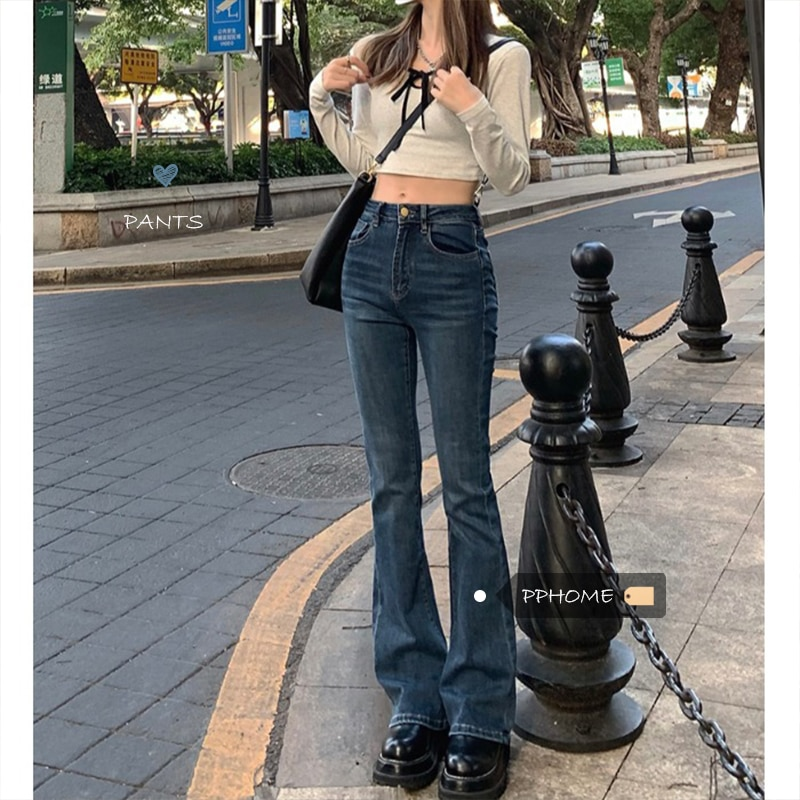 Cultivation of long legs ~ Korean ancient hot girl style retro small slim body horn jeans women