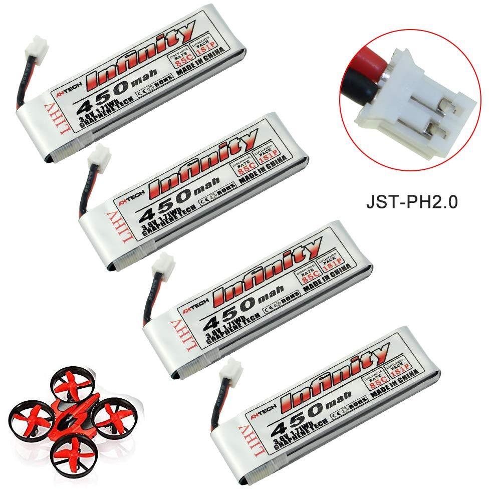 4 paquetes infinito grafeno 450mAh 1S 3,8 V 85C LIHV Whoop Tiny LiPo batería con JST-PH 2,0 Powerwhoop conector Micro FPV Drone