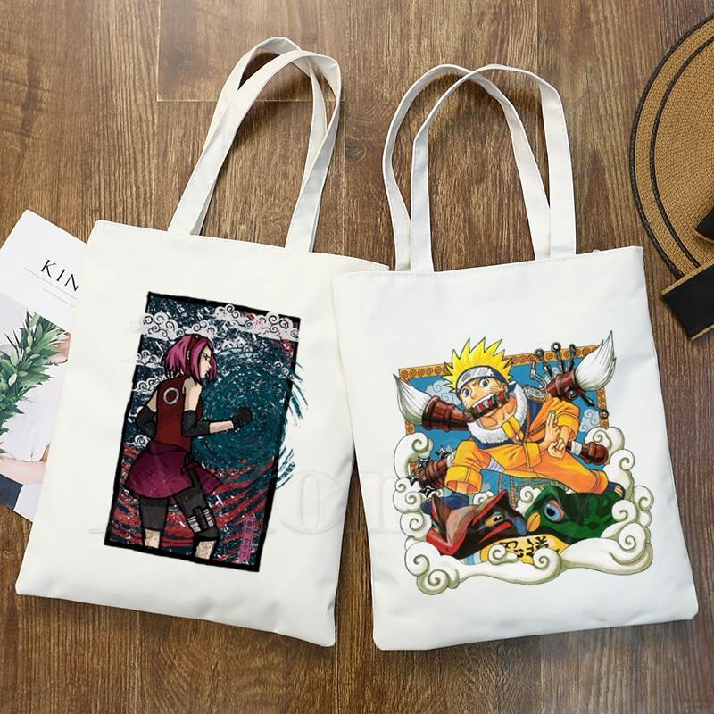 Модная Холщовая Сумка Naruto для женщин и девочек, простая Большая вместительная сумка для хранения, сумка через плечо, многоразовая Студенчес...