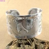 bocai 100 s999 sterling silver bangle fashion simple flower elephant pattern hand jewelry pure argentum bracelet for women