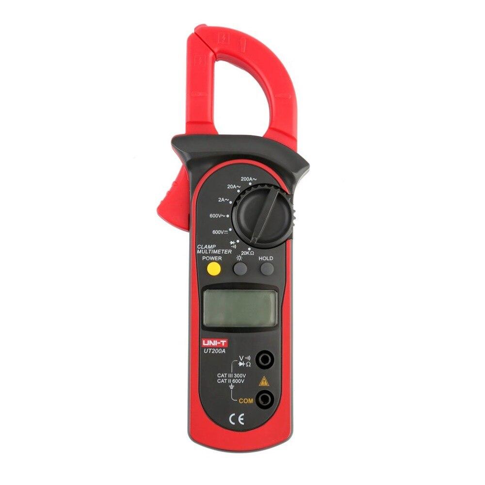 UNI-T ut200a digital braçadeira medidor multímetro corrente ac/dc tensão resistência tester ohm dmm voltímetro ac amperímetro lcd backlight