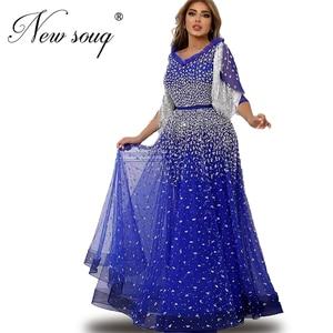 Beaded Blue Formal Women Evening Dresses Custom Made Muslim Sliver Tassel Party Gown Full Sleeve Dubai Gown Vestidos De Festa