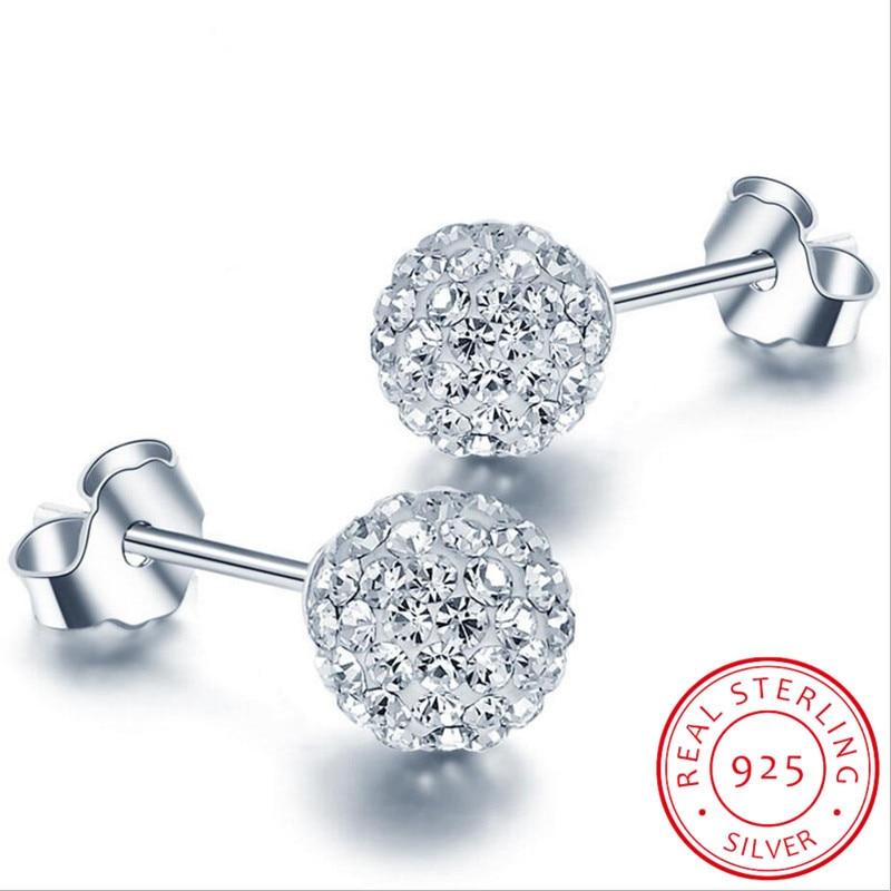 AliExpress - High Quality 925 Sterling Silver Rhinestones Crystal Ball Stud Earring Bead Jewelry 10mm 8mm 6mm Stud Earring For Female Jewelry