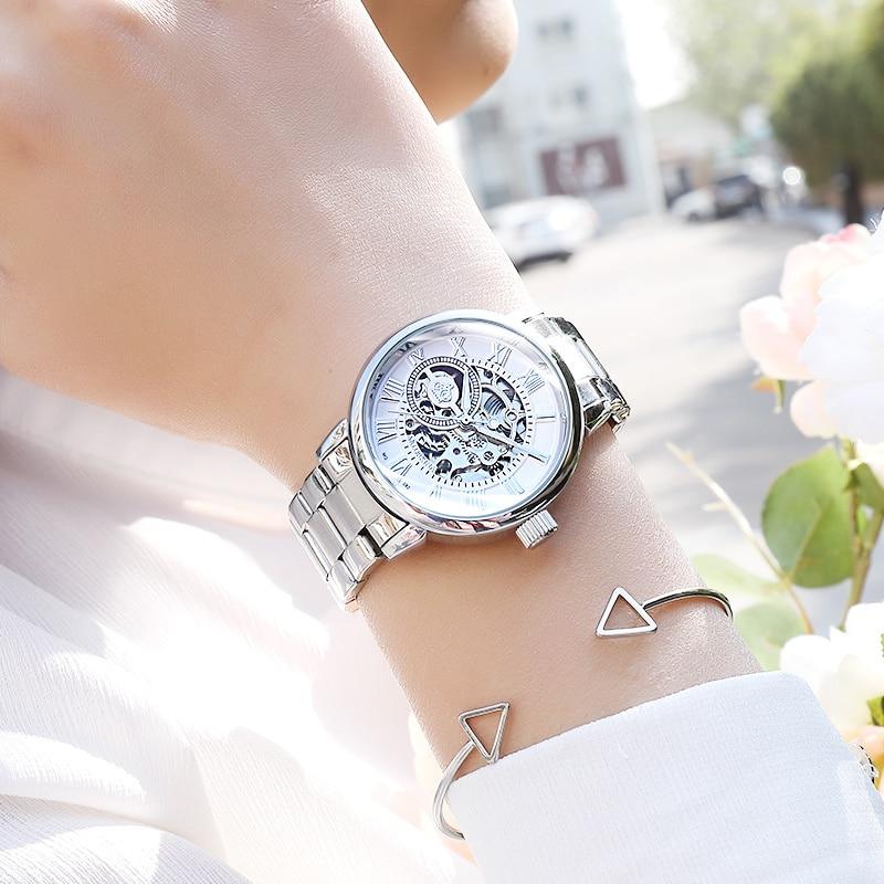 New Waterproof Luxury Skeleton Watch Women Automatic Mechanical Watches Stainless Full Steel Women's Wristwatches Female Clock enlarge