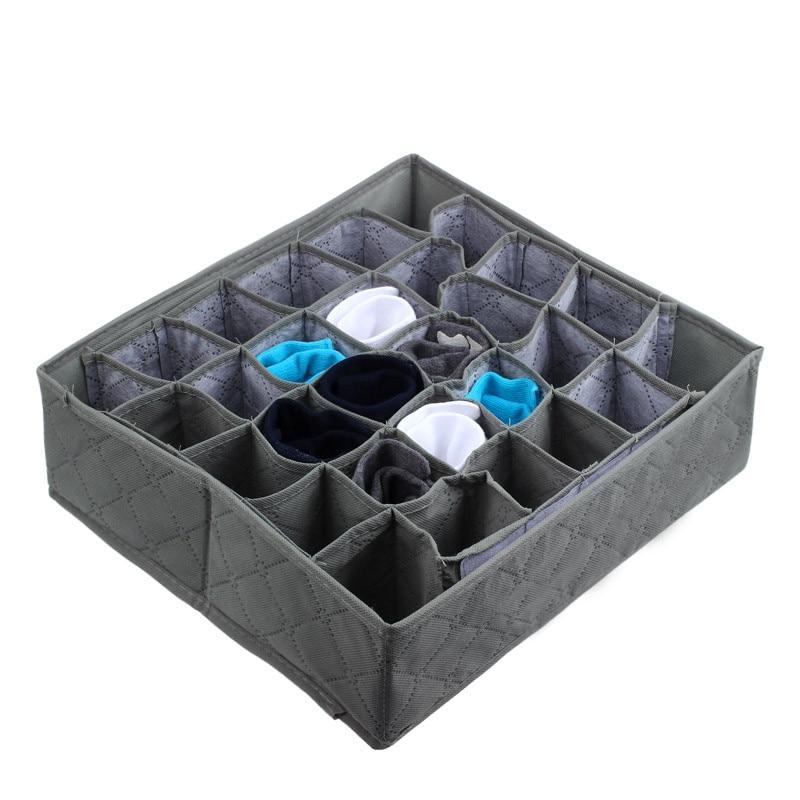 30 Cells Bamboo Charcoal Ties Socks Drawer Closet Organizer Storage Box Flat Stackable Tray Holder Storage Showcase